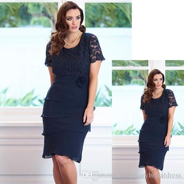 Navy Blue Mother Of The Bride Dresses 2016 Short Sleeves Lace ...
