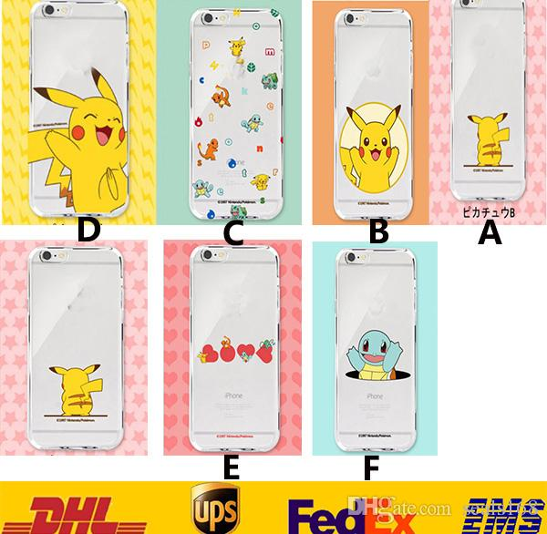 2016 Poke Pikachu TPU Transparent Cell Phone Case IPhone 5 5s 6 Iphone 6Plus Samsung note3 S5 S6 GD-C04