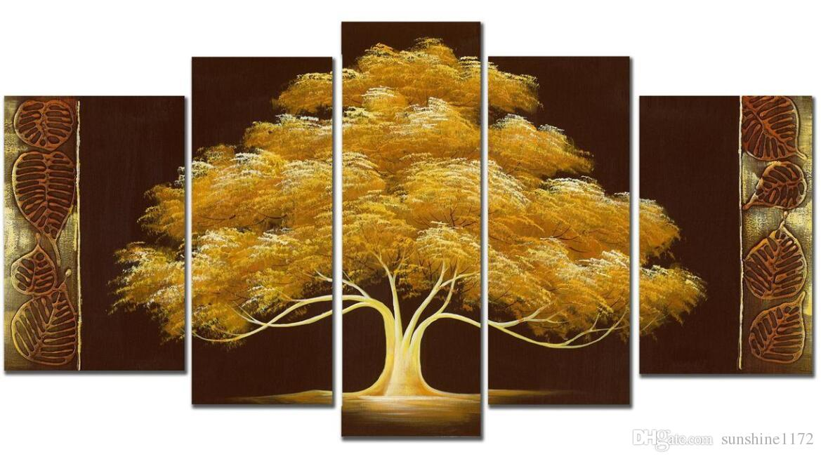 handpainted money tree oil paint 5panels goldentree modern canvas art wall decor wood inside frame easy to hang landscape painting wall paintings modern best office art