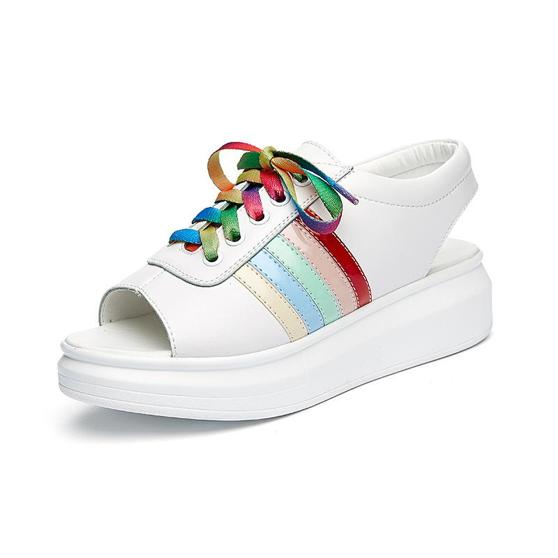 2016 new leather shoes rainbow fish head strap sandals for Fish head shoes
