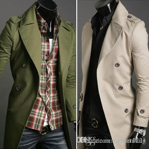 2017 Classic Mens Pea Coat Cotton Plus Size Solid Trench Overcoat
