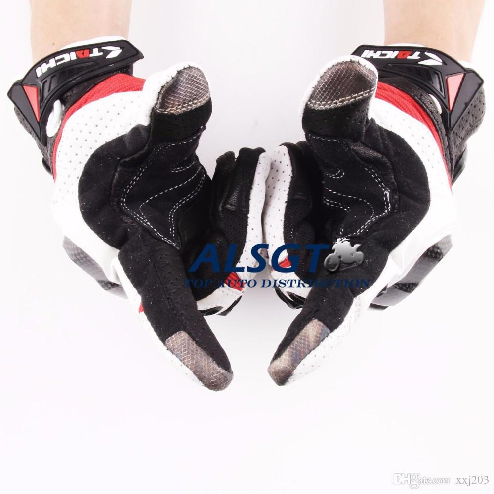 Motorcycle gloves discount - Hot Sale Rs Taichi 410 Racing Genuine Leather Touch Screen Gloves Carbon Fiber Tactical Gloves Driving Motorcycle Moto Gp Gloves
