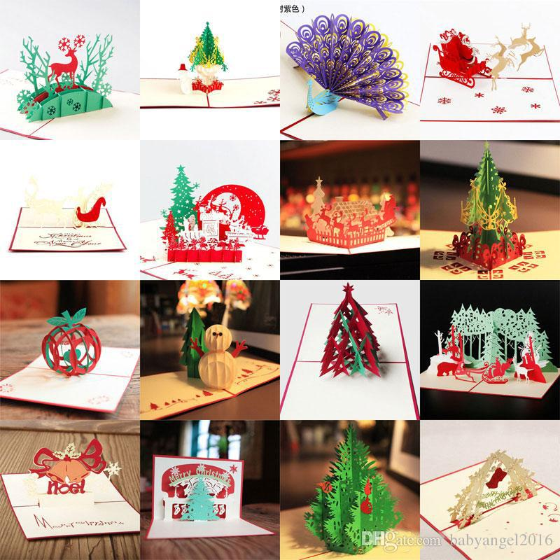 Hot sale 3d pop up party card peacock design christmas for Kirigami christmas card