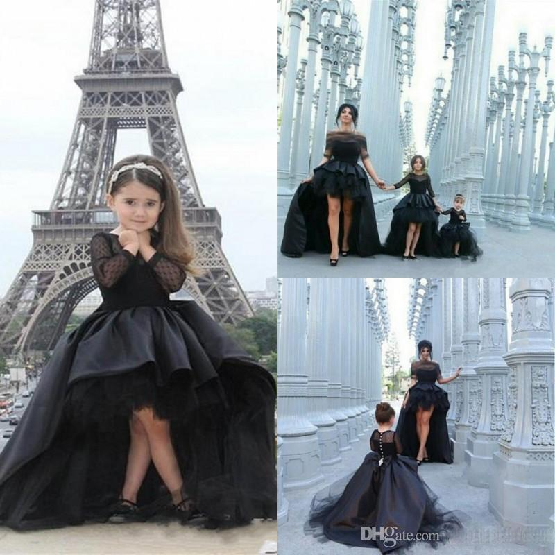 2016 popular black pageant dresses for girls jewel long for How to dress up a black dress for a wedding