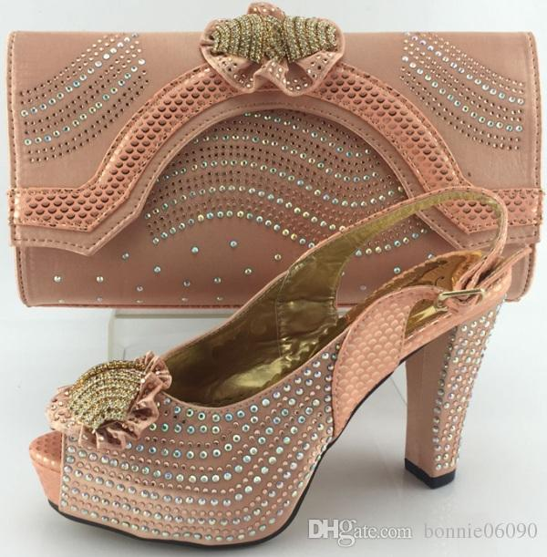 Sweet Peach Dress Shoes And Matching Bag With Stones Me3327Wedding Party 10cm High Heel And ...