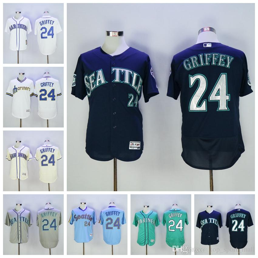 Meilleure qualité 24 Ken Griffey Jr Jersey 2017 Hall Of Fame Patch Mariners de S