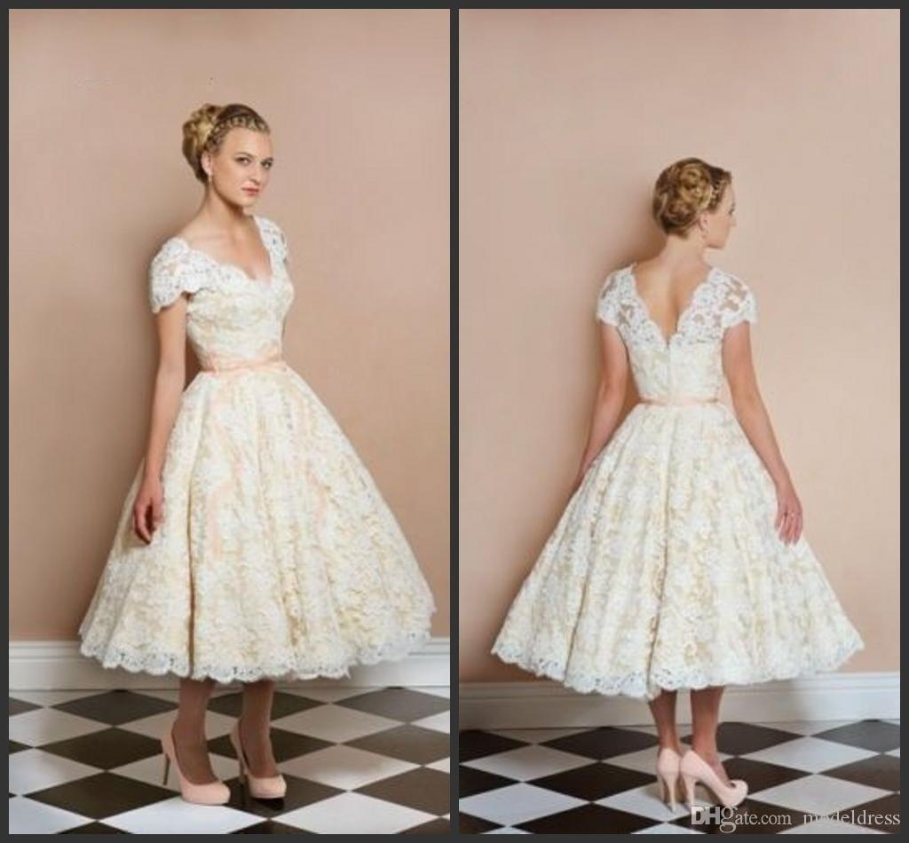 Discount 1950s vintage lace beach wedding dresses v neck for 1950s style wedding dresses for sale