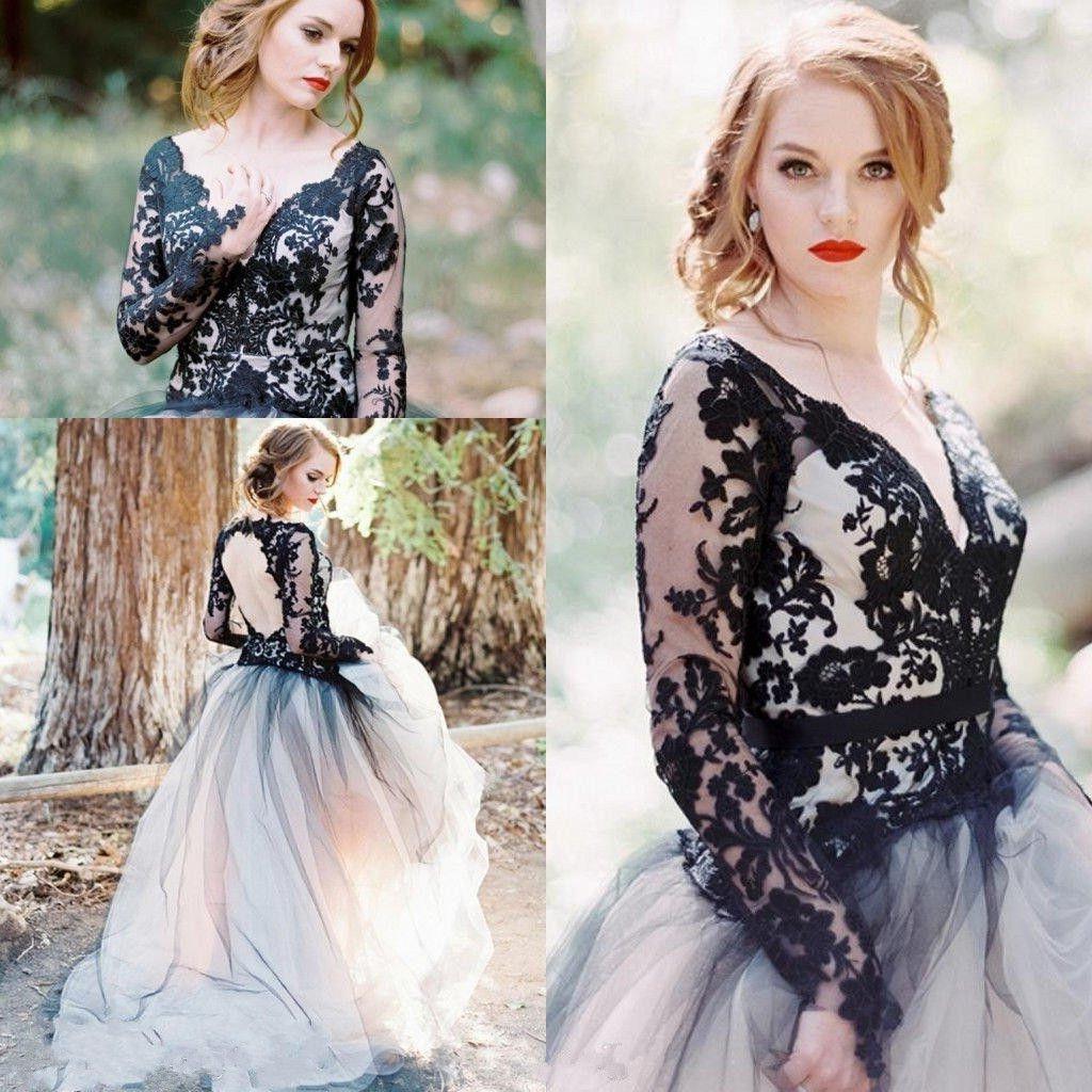 2017 vintage wedding dresses black and white wedding dress for Vintage gothic wedding dresses