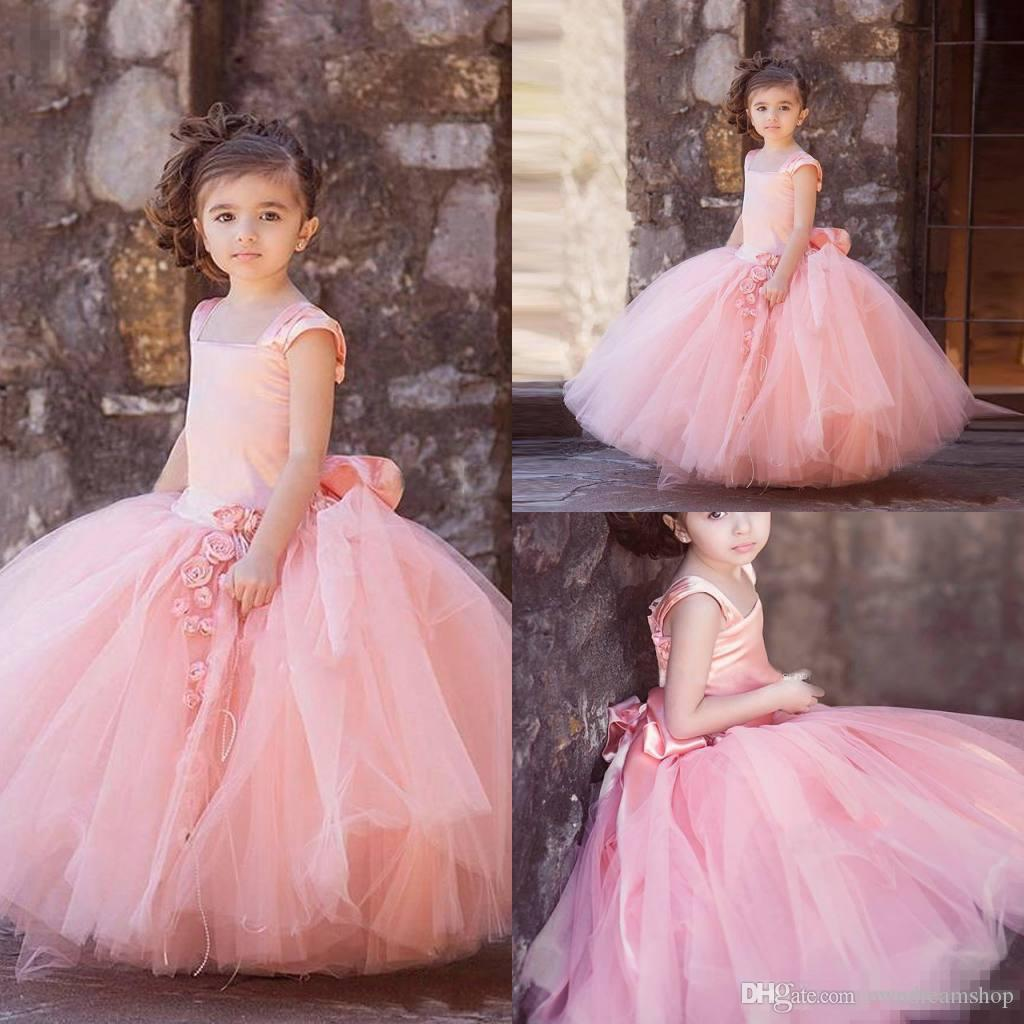 2017 Lovely Pink Tulle Flower Girl Dresses For Vintage Wedding Square Neck Bi