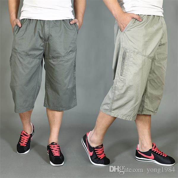 Plus Size Capris Male Cotton Fat Multi Pocket Shorts Capris ...