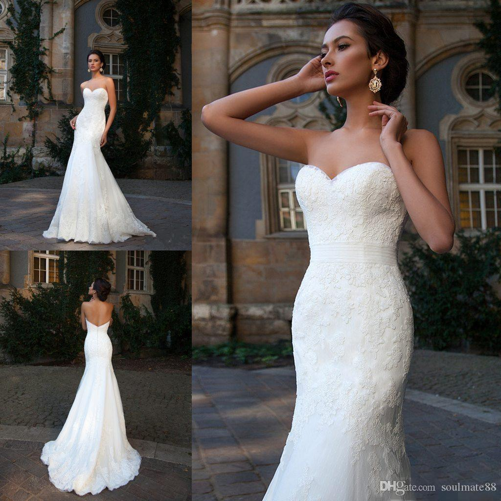 Simple Style 2017 Sweetheart Lace Wedding Dresses Sleeveless Mermaid Fitted Bodice Chapel Train