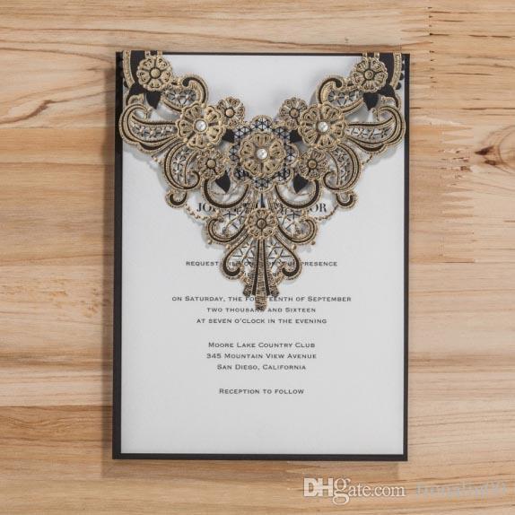 Vintage Gold Lace Wedding Invitation Cards 2016 Black Pearl Laser – Black Lace Wedding Invitations