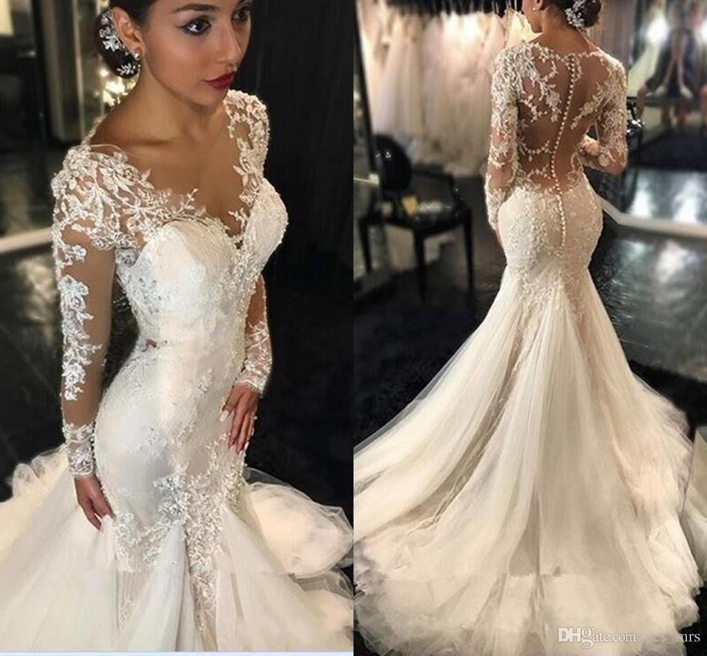 New Mermaid Wedding Dresses 2016 y Long Sleeves Lace