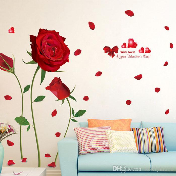 Romantic red rose wall stickers creative flower wall for Red flower wallpaper living room