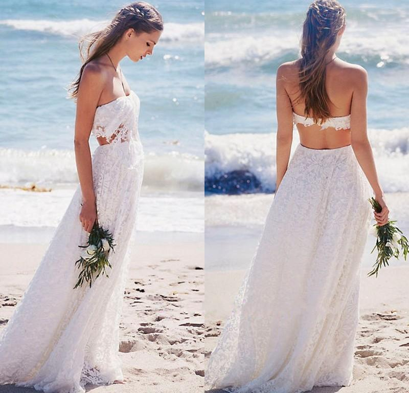 Wedding Dresses For The Beach 2017 : Bohemian beach wedding dresses sexy backless long