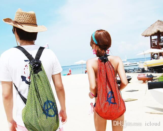 Nylon Beach Mesh Backpack Bags Double Mesh For Men And Women ...