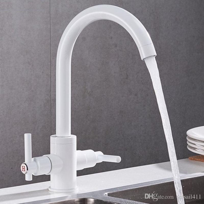 2 Handles Kitchen Sink Faucet Hot Cold Faucets Single Hole Kitchen Tap  Brass Paint Black/White Finish Sink Mixer Taps Kitchen Faucet 2 Handles  Kitchen Sink ...