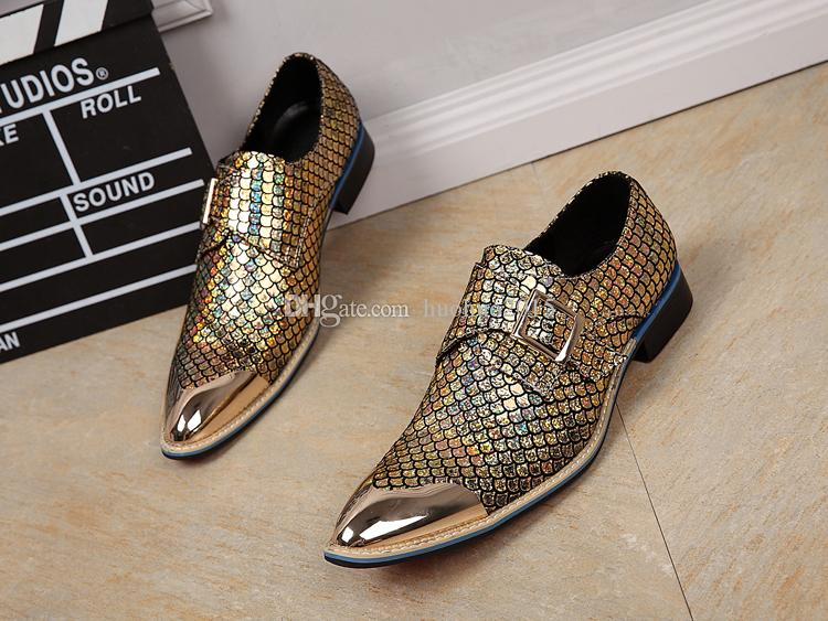 2016 hot sale men dress shoes shiny fishscale pattern for Fish scale boots