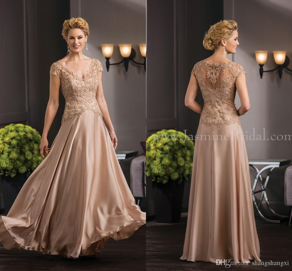 Unique Jasmine Mother Of The Bride Dresses Champagne V Neck Short Sleeve Lace Long Formal ...