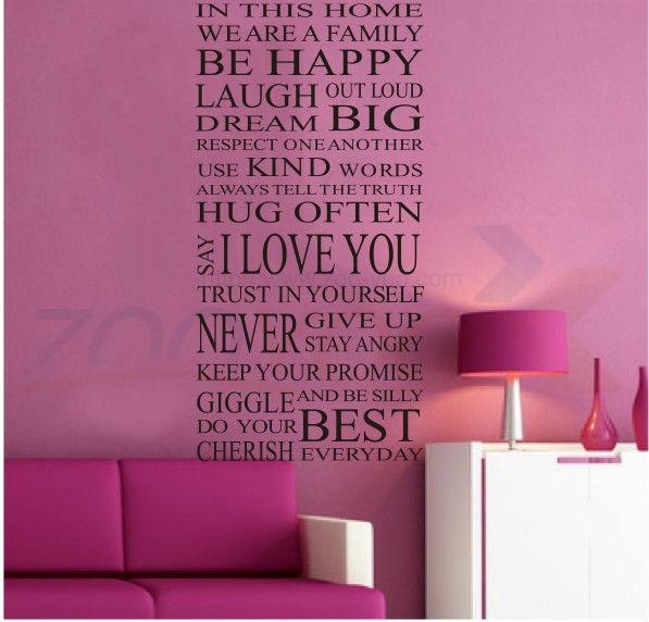 Family Wall Stickers House Rules In This House We Are Family Creative Quote Wall  Decal Decorative Vinyl Home Decoration Mural High Quality Stickers Roc ...