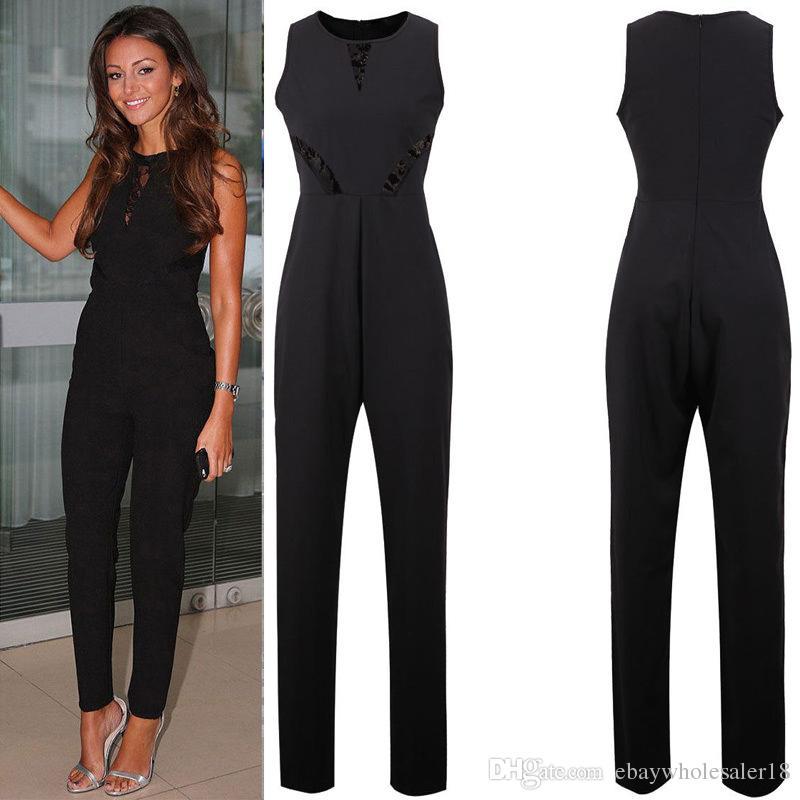 Black Cotton Jumpsuits Women Sleeveless Online   Black Cotton ...