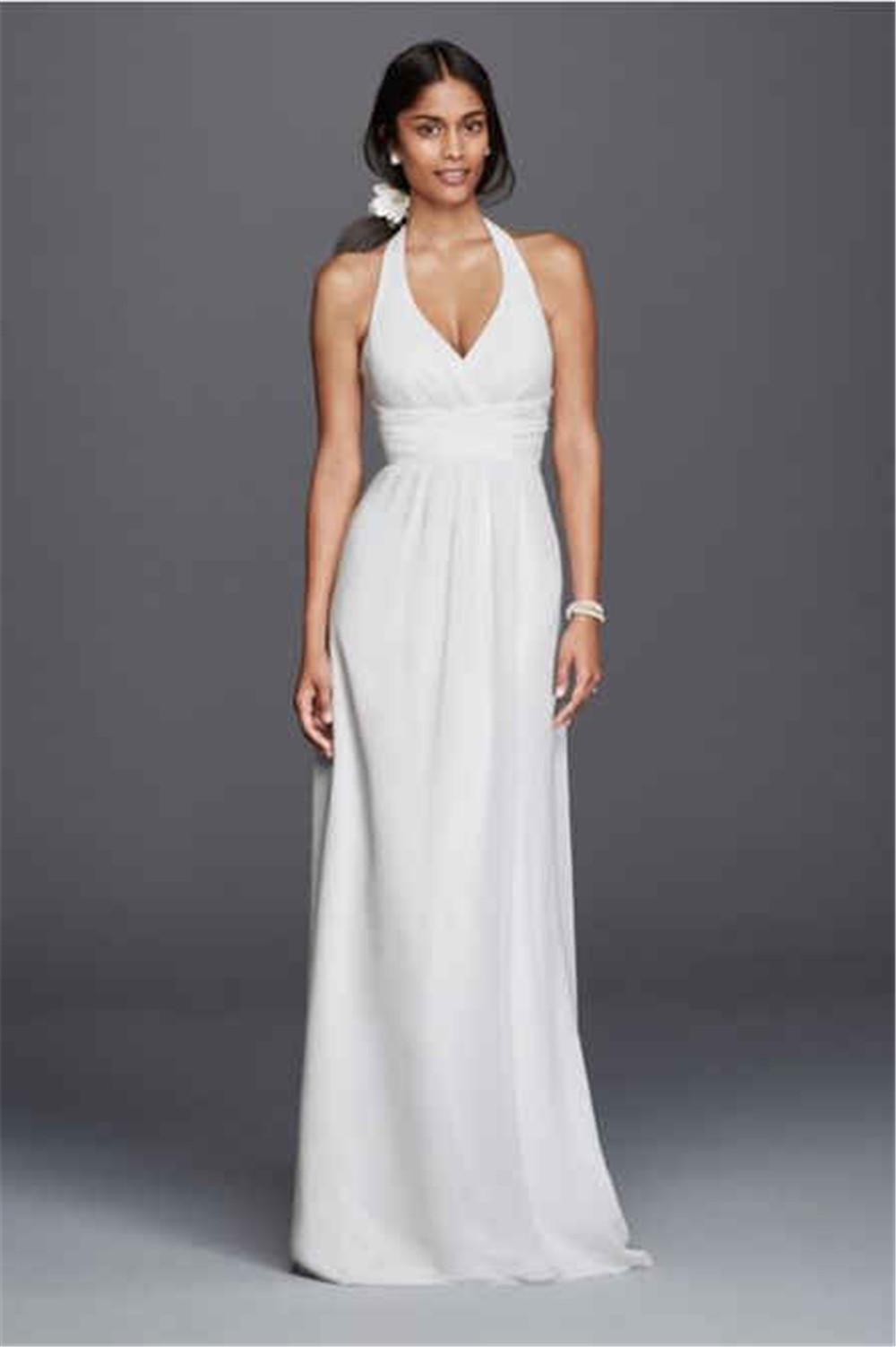 Wedding Halter Wedding Dress wholesale low back halter wedding dresses buy cheap neck chiffon sheath dress sdwg0394 lower empire waistline simple floor length bridal dress