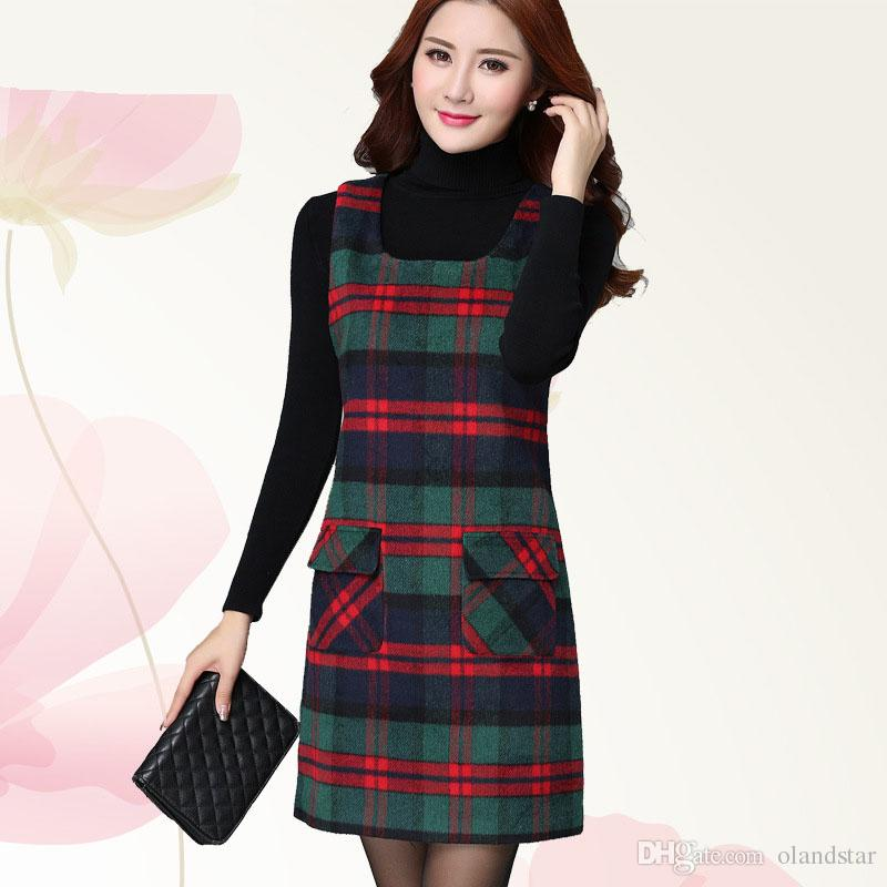 Autumn Winter Waistcoat Dress Wool Blend Sleeveless Lady Dresses ...
