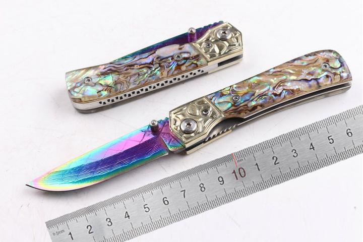 2017 04442 Edc Pocket Knife, Damascus Coated Colorful ...