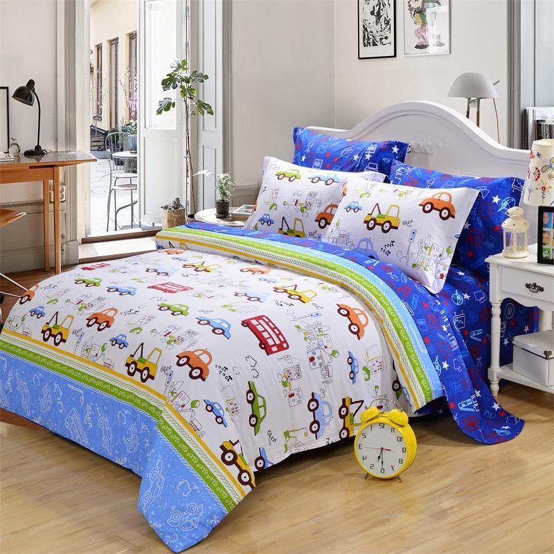 Cartoon Ducet Cover Car Design Bedding Set Cotton Queen Size Bed ...