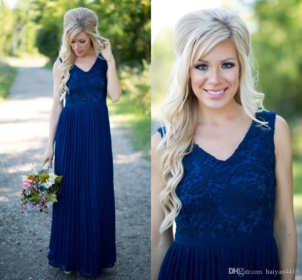 2016 New Country Navy Blue Bridesmaid Dresses V Neck Lace