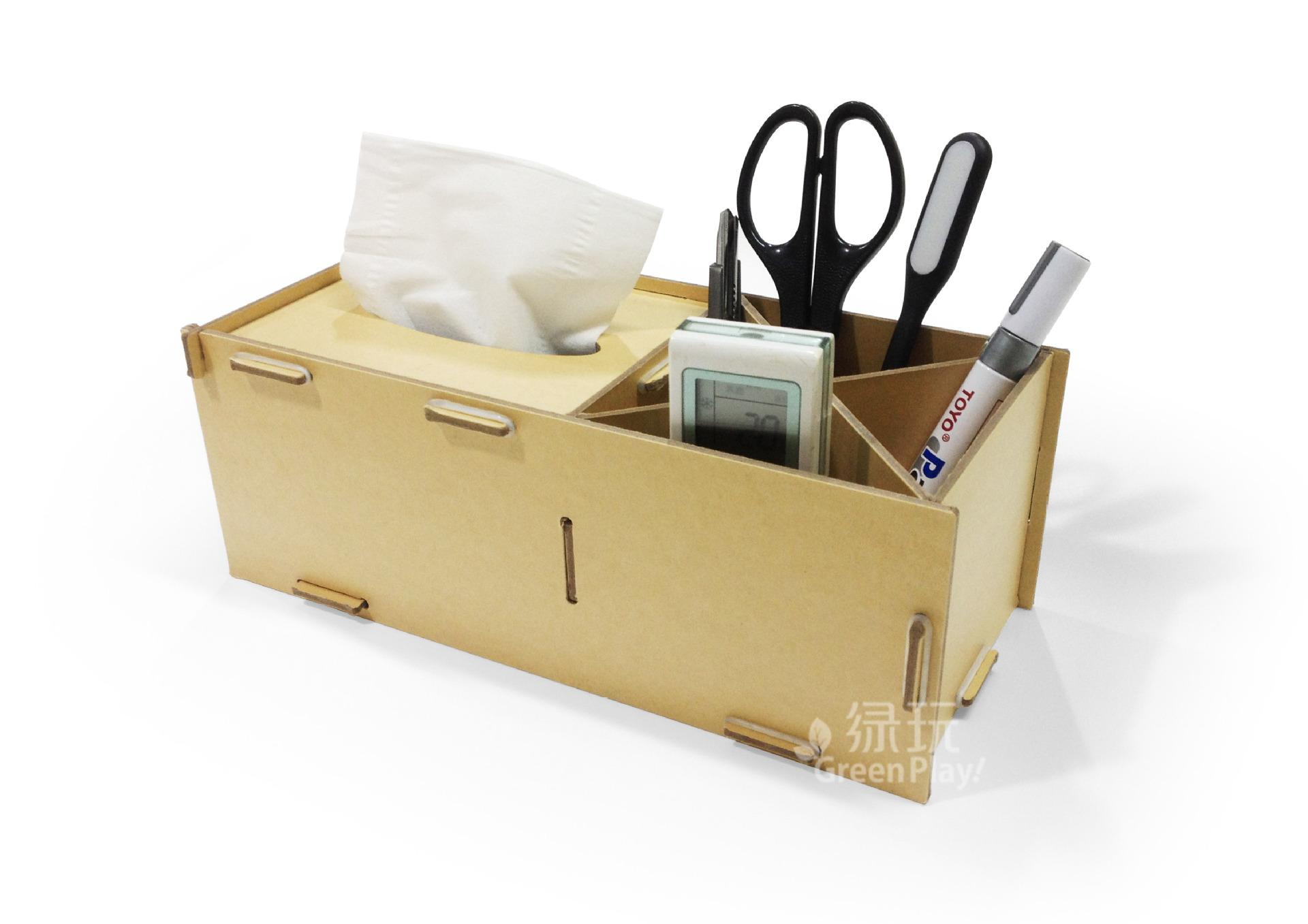 kraft paper desk organizer with tissue boxes office desk