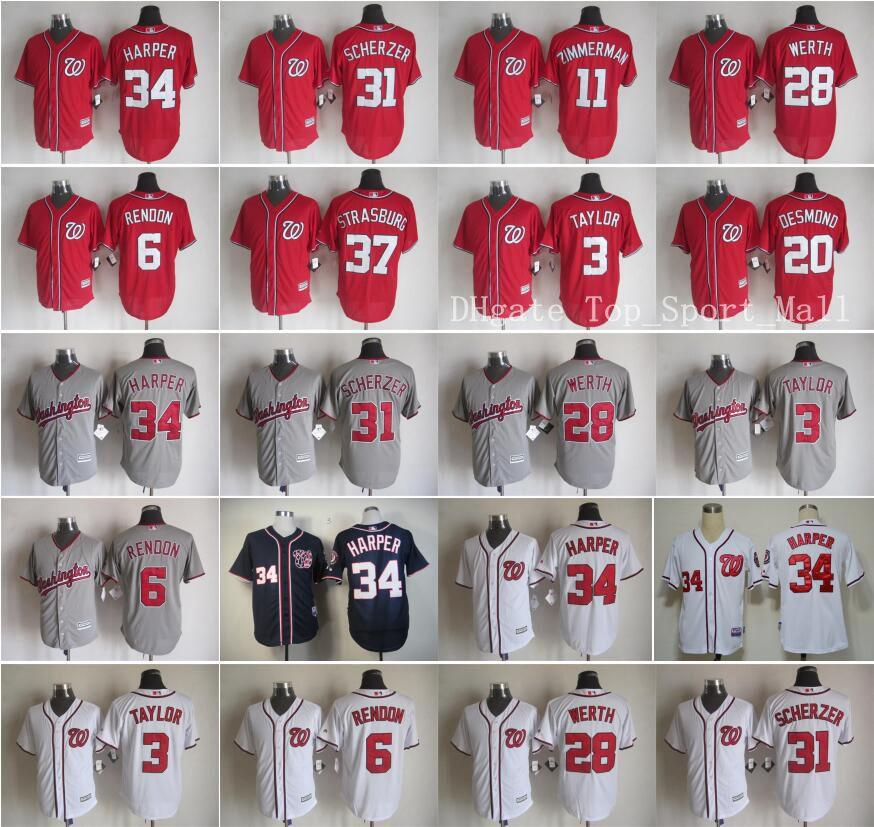 Washington Nationals Maillots Baseball Jeu 34 Bryce Harper 31 Max Scherzer 11 Ry