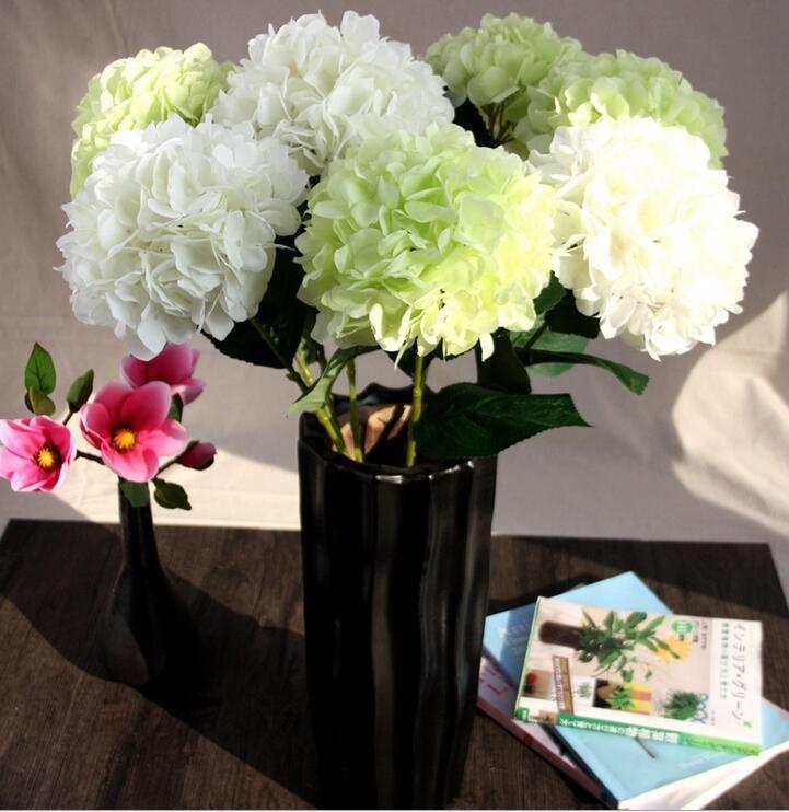 Artificial hydrangea flowers fake silk single