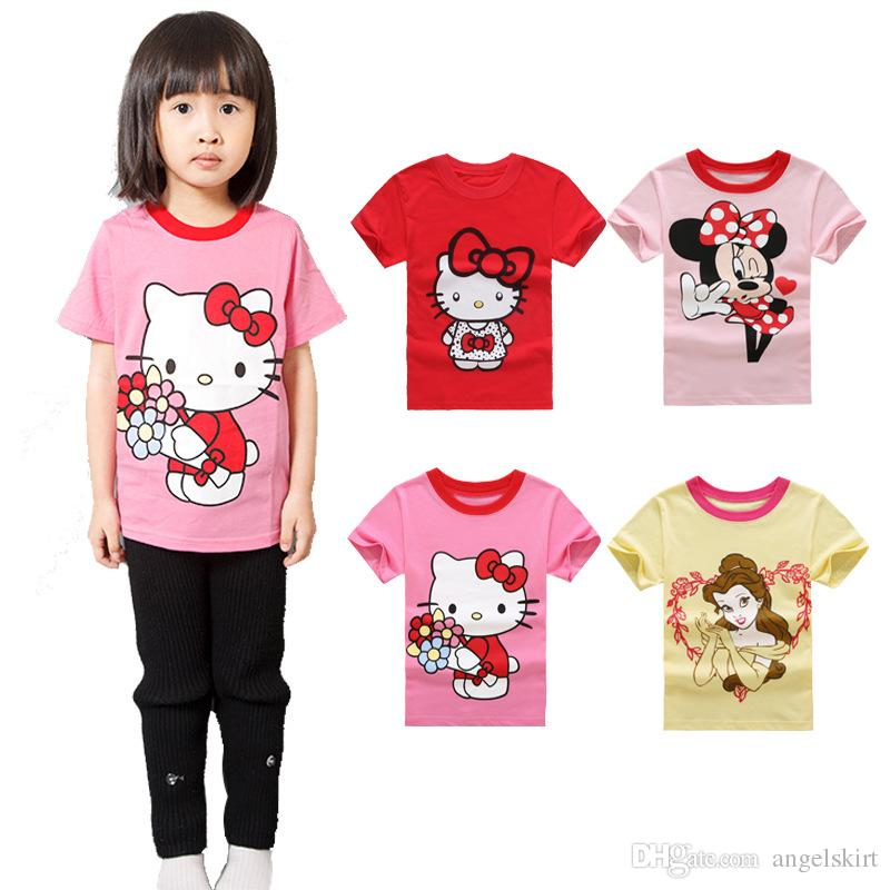 2017 size 2 7years summer kids t shirt hello kitty girls for 7 year old boy shirt size