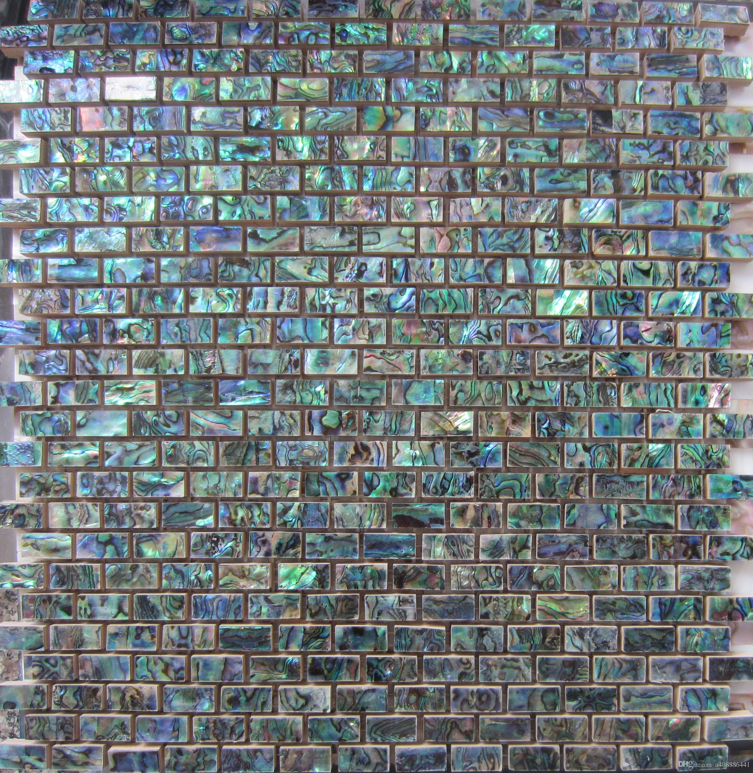 Online Cheap Green Abalone Shell Mosaic Tile On Mesh With