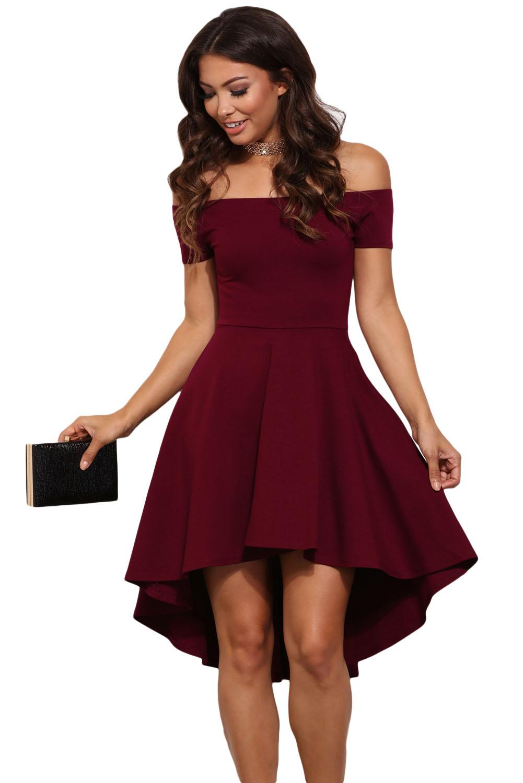 Fall Burgundy High Low Skater Dress Plus Size Women Clothing ...