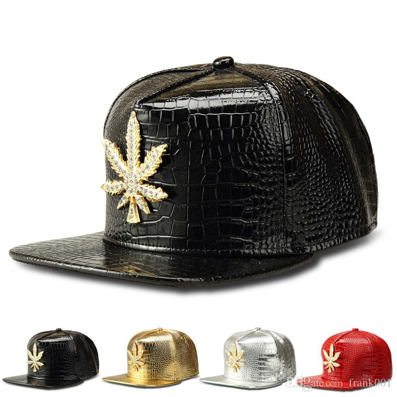 New Fashion PU Hommes Hip Hop feuille de baseball Casual Unisexe Outdoor Chapeau