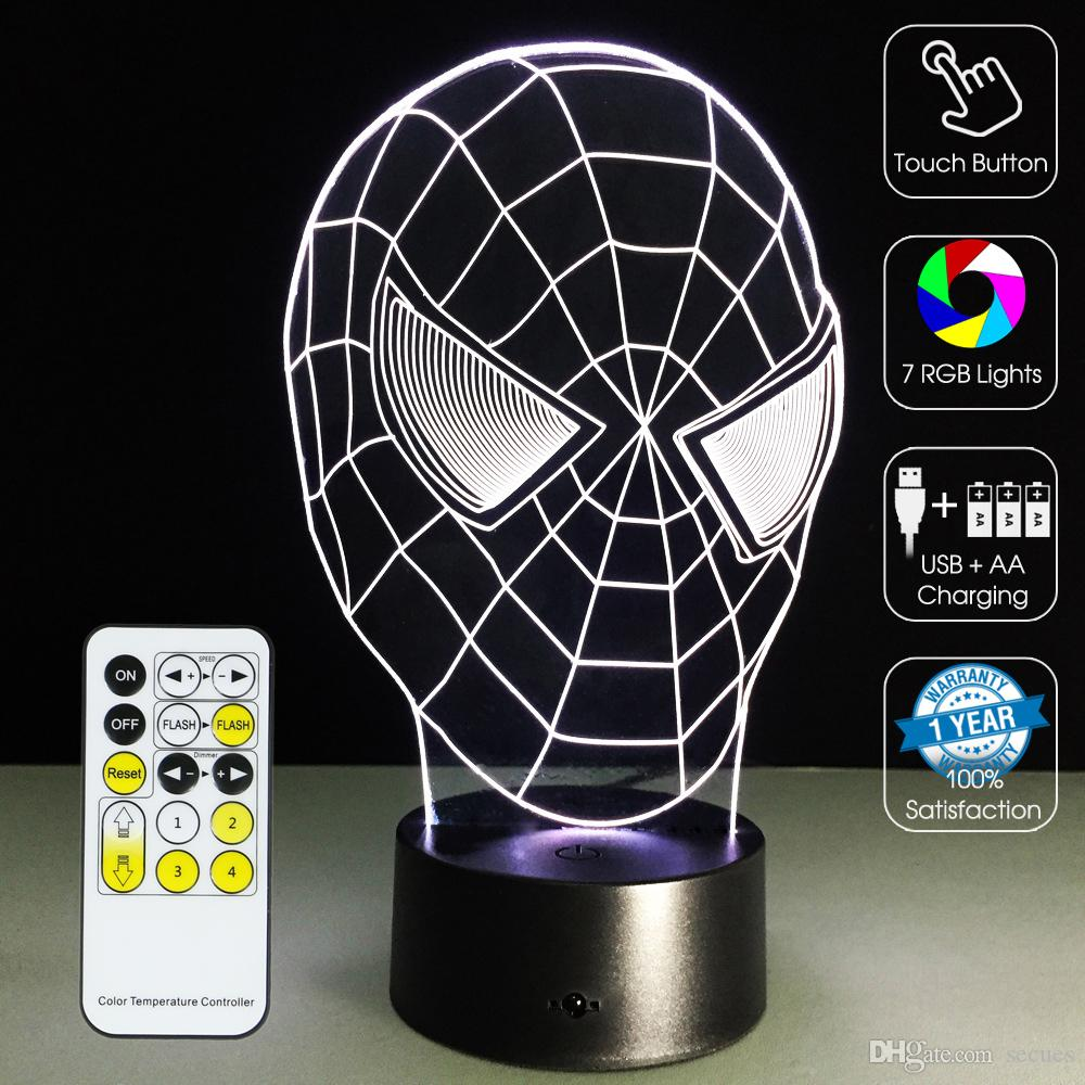 2016 Spiderman 3D Head Lamp 3D Optical Lamp Light Night 7 RGB Lumières Dimmable