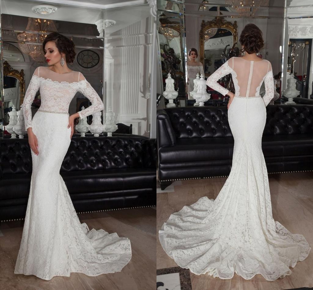 New Collection 2016 Lace Wedding Dresses y Sheer Long