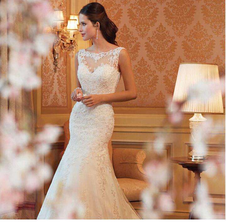 2016 white wedding dresses slim sexy elegant trumpet long for Slim white wedding dresses