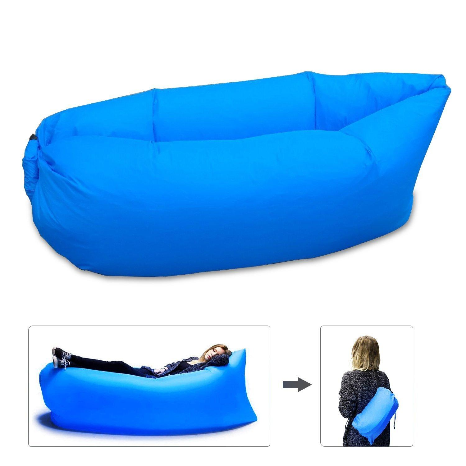 hot sale portable inflatable air bag lounger sofa couch sleeping bed for outdoor beach camping. Black Bedroom Furniture Sets. Home Design Ideas