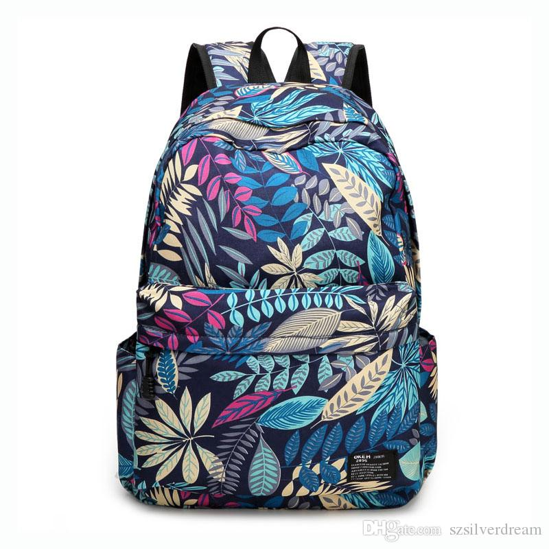 New Fashion Floral Print Backpack Men Oxford Fabric Traveling ...