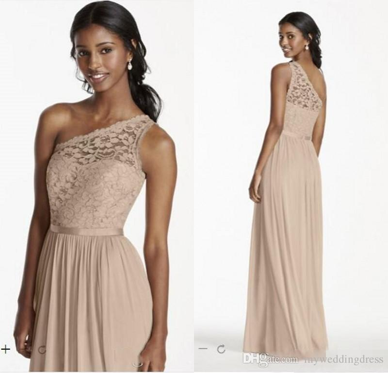 One shoulder bridesmaid dresses 2016 grey lace cheap long for Mid length dresses for wedding guests