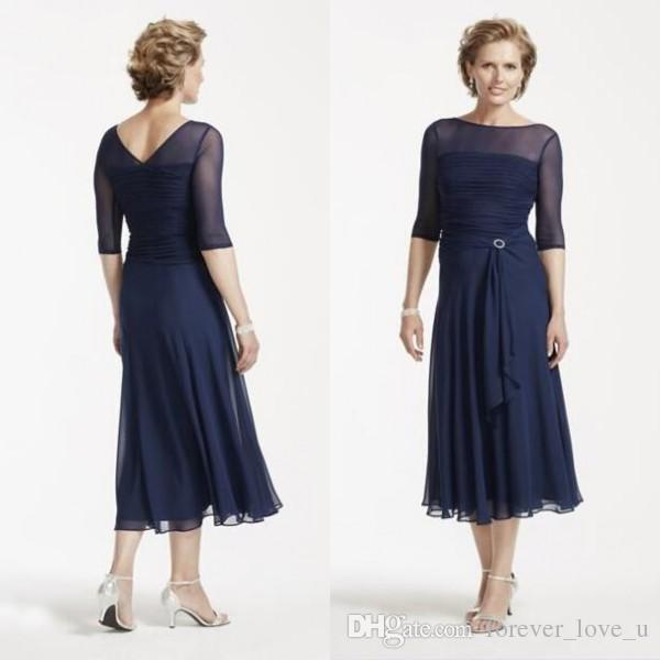 Tea length mother bride dresses sleeves dark navy chiffon for Mother in law wedding dresses