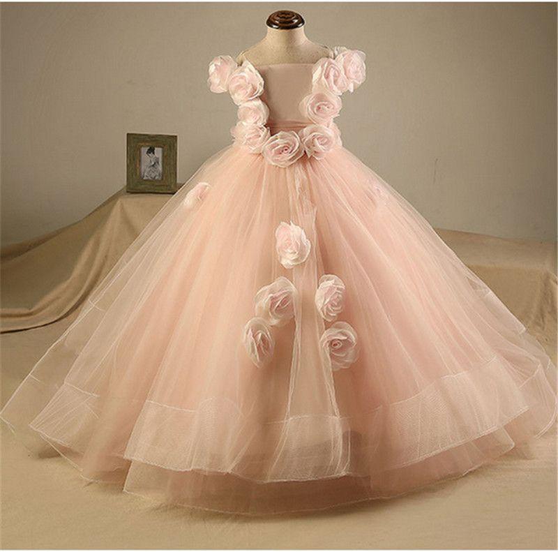 3d flower baby girl birthday party christmas dresses children girl