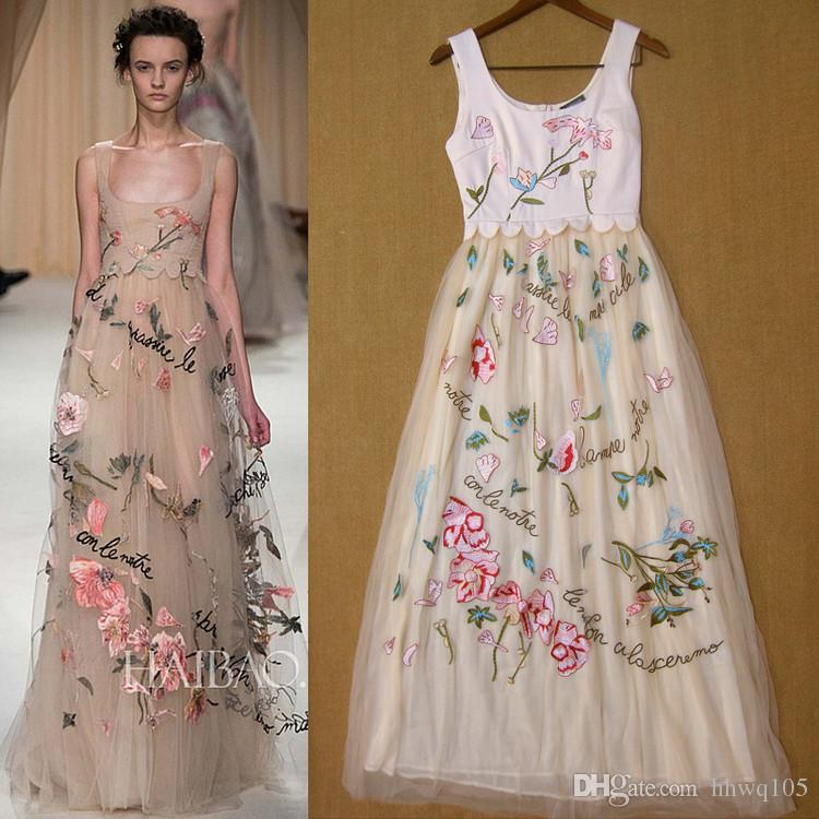 Embroidered wedding dress label : New embroidered flower runway dress maxi tulle beach wedding u