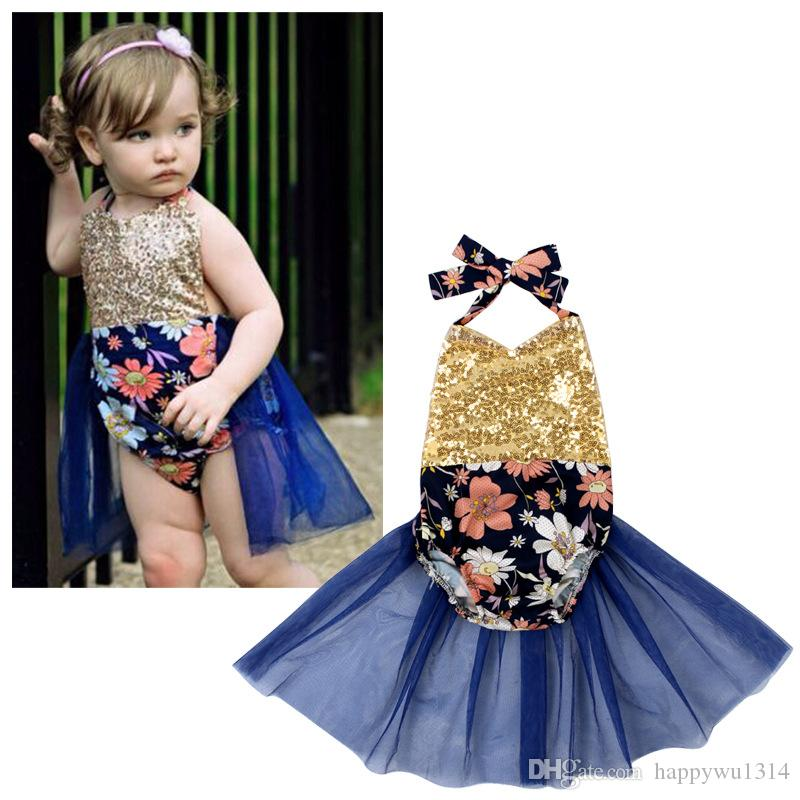 Cute Baby Floral One-Piece Sexy Halter Backless Gold Sequins ...