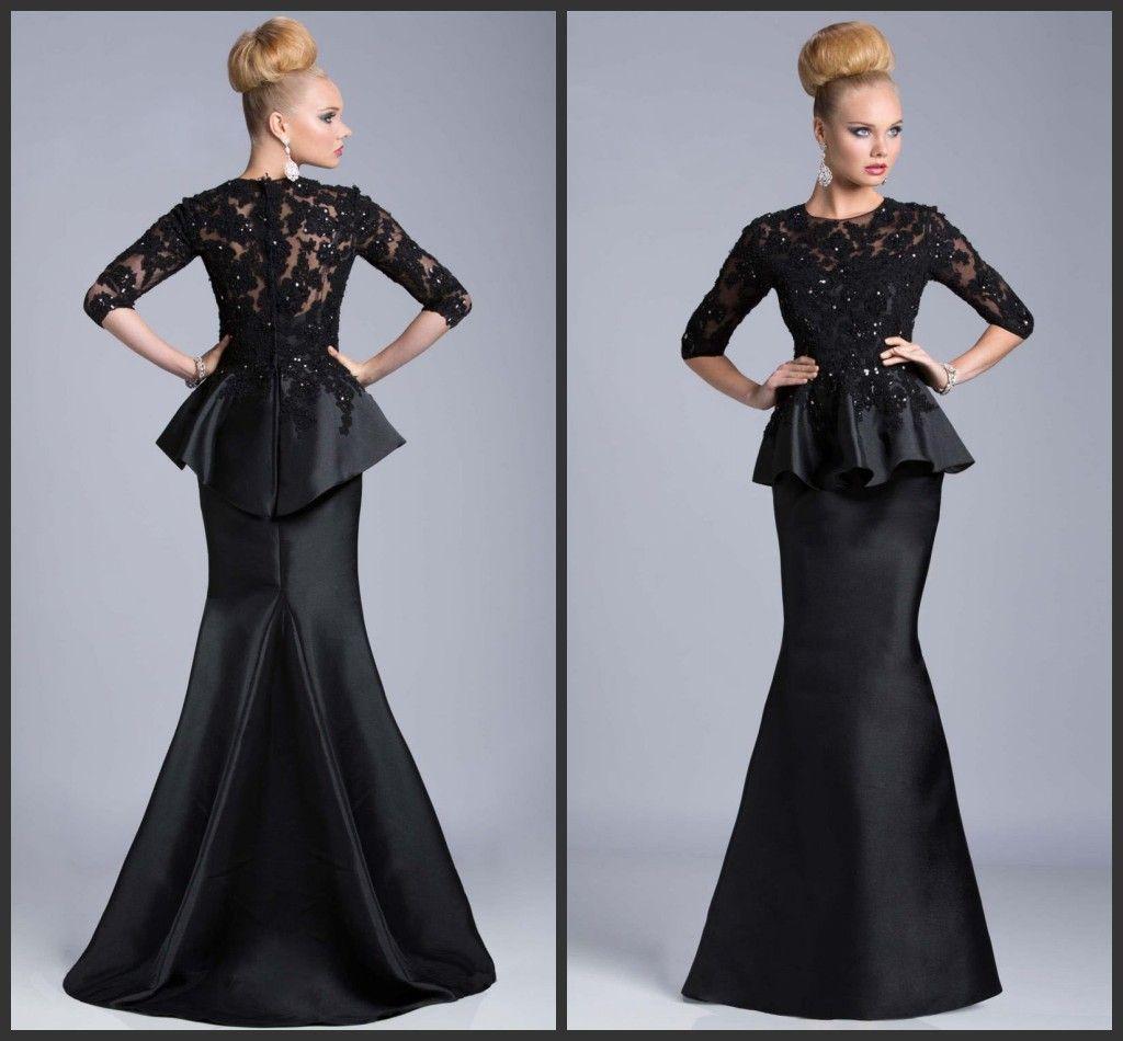 Black 3/4 Long Sleeves Mother Of The Bride Groom Dresses