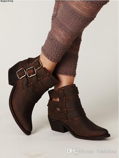 Jeffrey Campbell Buckle Back Phillips Ankle Boots Black/Brown
