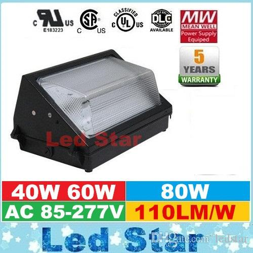 CREE Chips 40W 60W 80W Led Outdoor Wall pack éclairage 110lm / W Super Bright Le